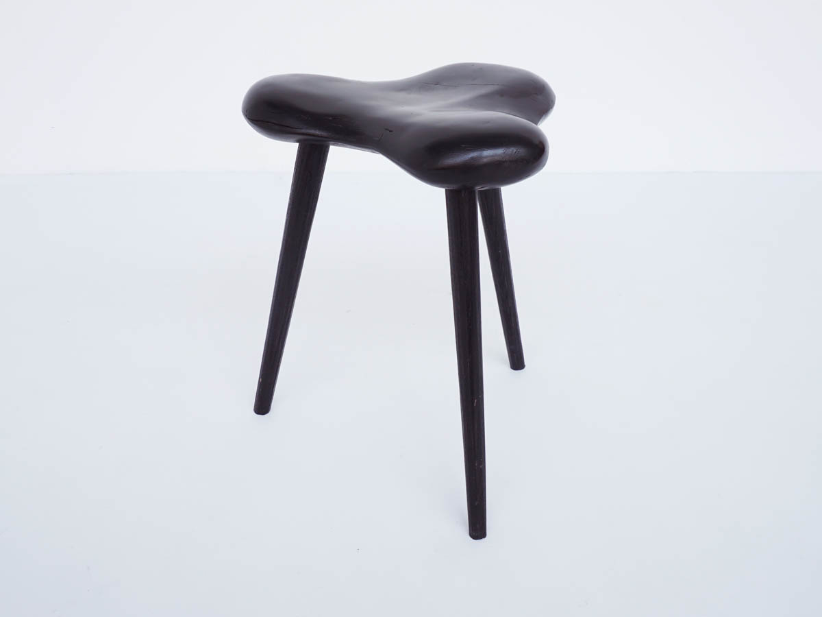 French Stool in Solid Black Lacquered Wood with Anthropomorphic Shape