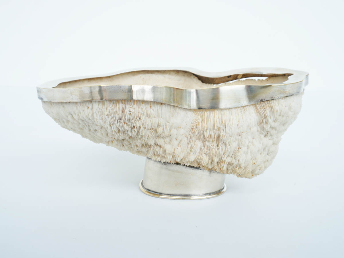 Silver bowl made from white coral