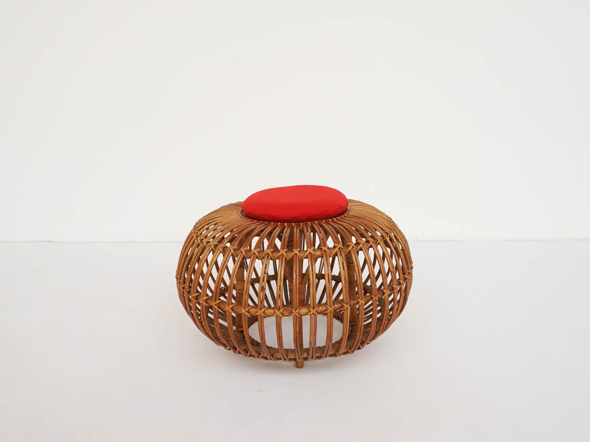 Pouf de Margherita en Bambou avec Coussin Rouge