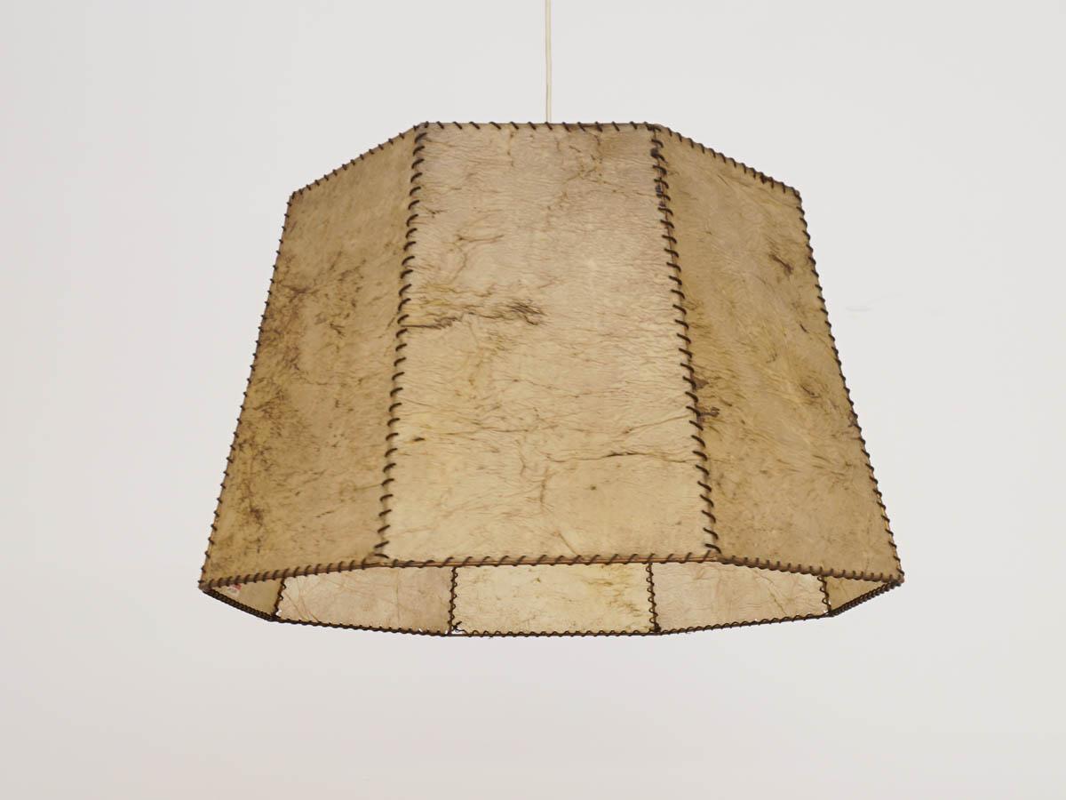 Lustre octogonal en cuir parcheminé